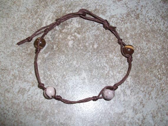 Brown Striped Jasper Stackable Knotted Bracelet