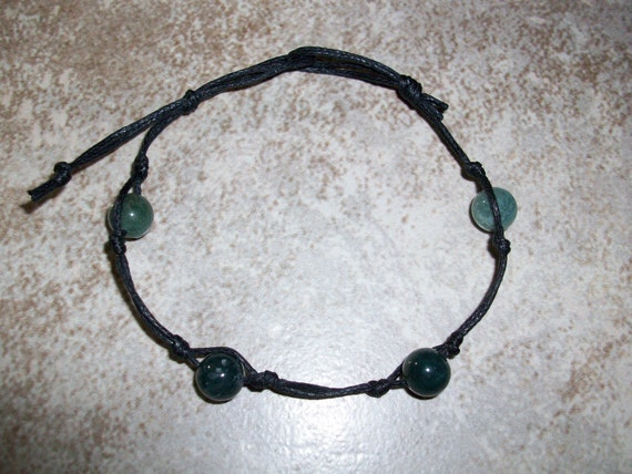 Moss Agate Stackable Knotted Bracelet