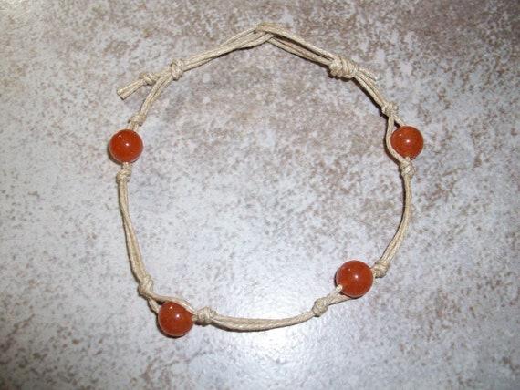 Orange Aventurine Stackable Knotted Bracelet