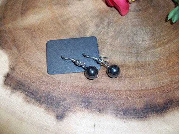 Hematite Sterling Silver 8mm Gemstone Earrings