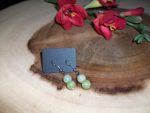 Jade Sterling Silver 8mm Gemstone Earrings