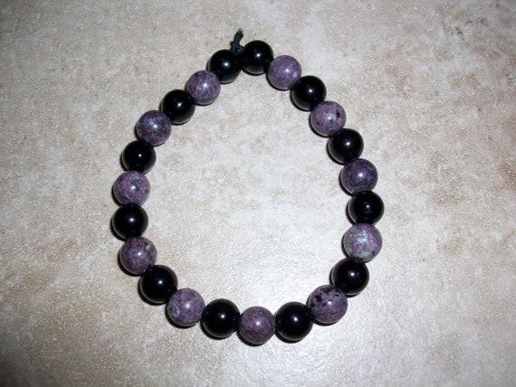 Lepidolite and Black Obsidian 8mm Gemstone Stretch Bracelet