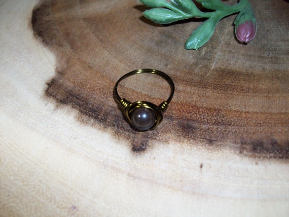 Tiger Iron (Mugglestone) 8mm Antique Bronze Color Wire Wrapped Ring Size 10