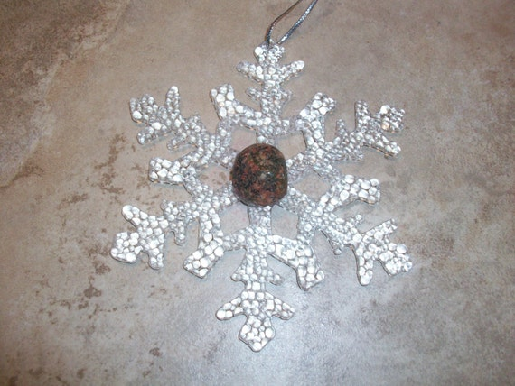 Snowflake Unakite Crystal Ornament