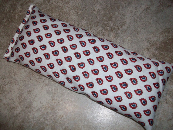 Lavender and Flax Seed White and Red Teardrop Fabric Aromatherapy Eye Pillow