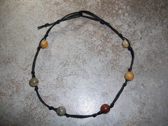 Crazy Lace Agate Stackable Knotted Anklet