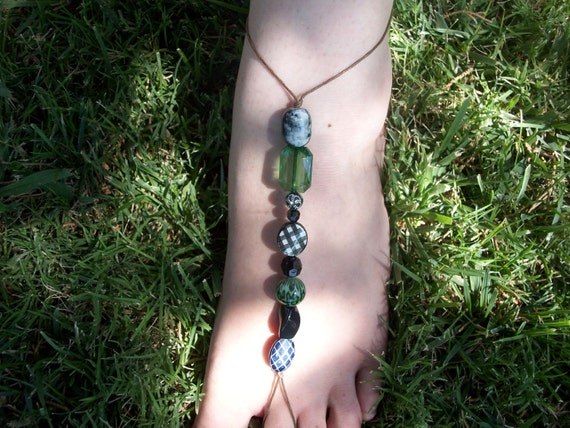 Black and Green Abstract Barefoot Sandals