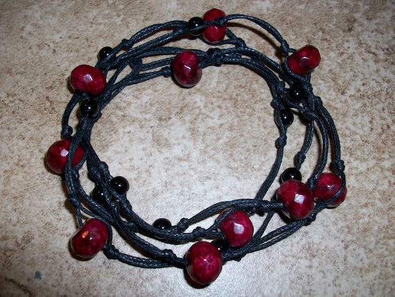 Maroon and Black Knotted Bracelet