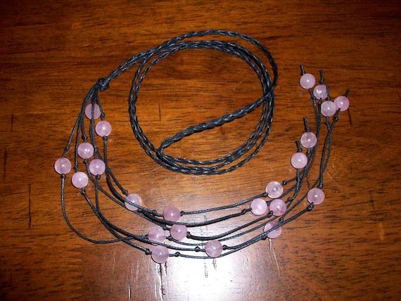 Rose Quartz Braided Lariat Necklace