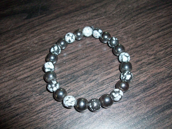 Snowflake Obsidian and Hematite 8mm Gemstone Stretch Bracelet