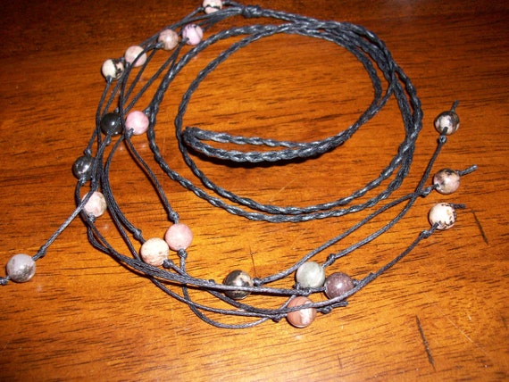 Rhodonite Braided Lariat Necklace