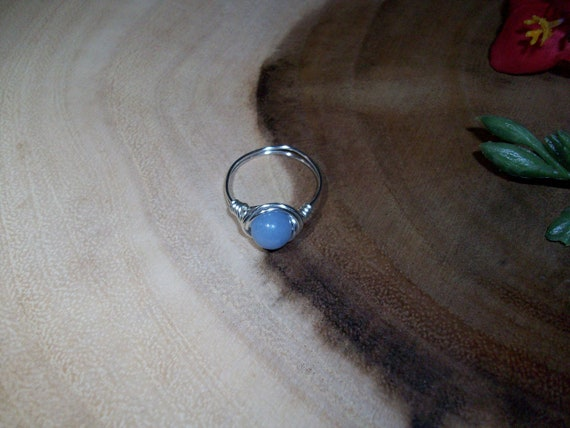 Angelite 8mm Silver Color Wire Wrapped Ring Size 8 1/2