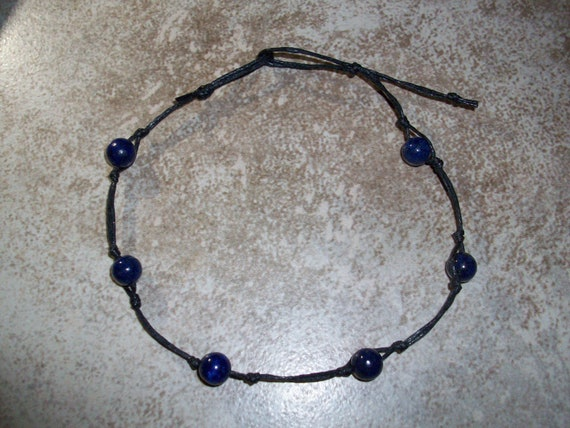 Lapis Lazuli Stackable Knotted Anklet