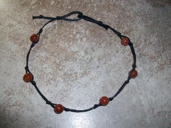 Red Goldstone Stackable Knotted Anklet