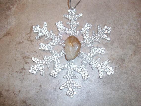 Snowflake Citrine Crystal Ornament
