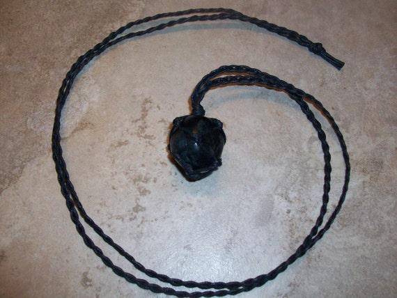 Dark Rainbow Fluorite Braided Necklace