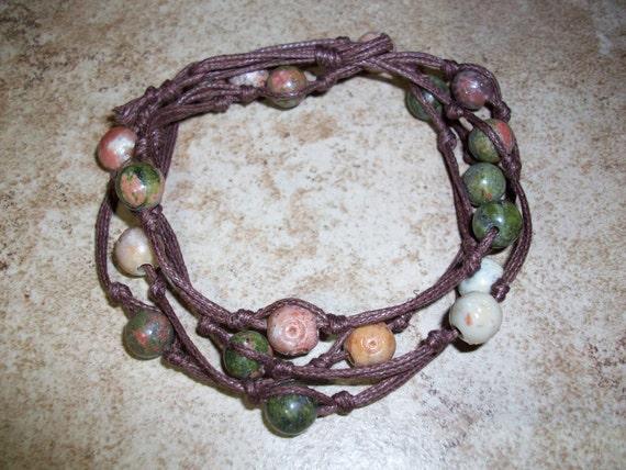 Unakite and Soapstone Mala Bracelet