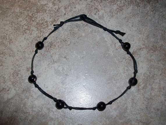 Nuummite Stackable Knotted Anklet