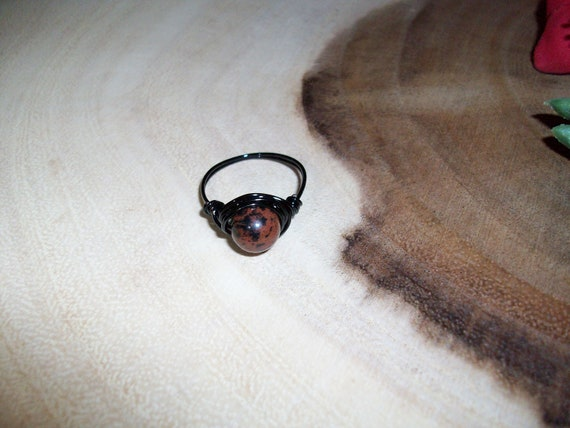 Mahogany Obsidian 8mm Black Color Wire Wrapped Ring Size 8 1/2