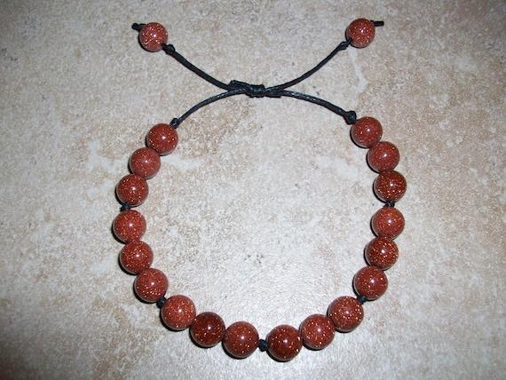 Red Goldstone Slide Knot Bracelet