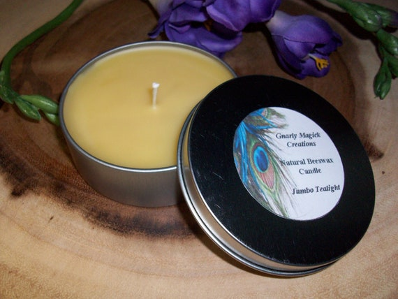 Handmade Natural Beeswax Jumbo Tealight Candle