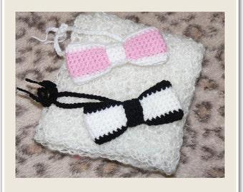 Newborn Baby White Crocheted Wrap 65x36cm and Bowties
