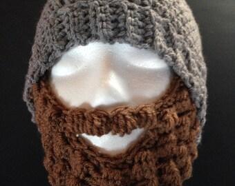 Crochet Baby-Adult Bearded Skullcap - Beard Hat – Gray   Brown Beard - Face  Warmer Ski Hat Beard Costume - Knit Beard Wild Viking Man Beanie ff68c30585