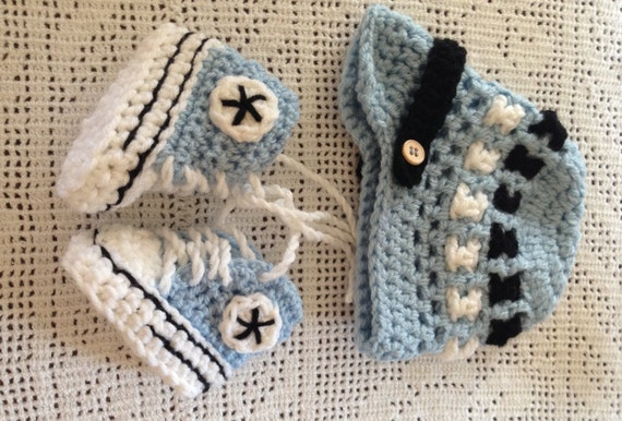 Crochet Blue Converse Booties and Beanie for Baby Baby Shoes   Etsy 3e2e983c8bb