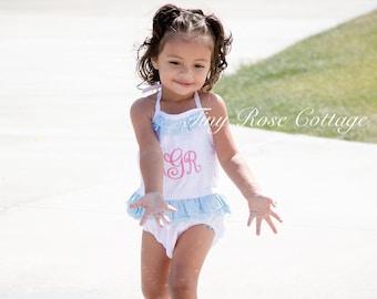 Monogram Seersucker swimsuit for your Little Girl   2 piece navy red green pink light blu aque