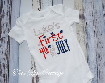 First 4th of July, Patriotic Shirt, Embroidered Bodysuit