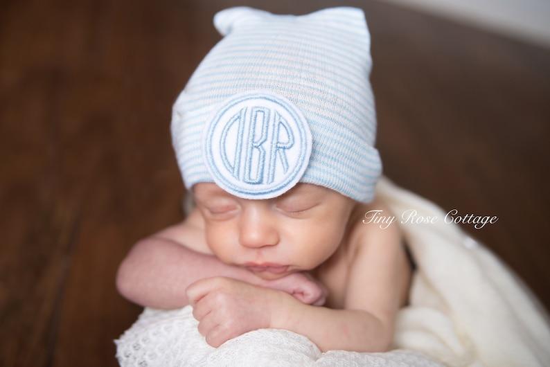 496e1fe45ba7 Monogrammed Newborn Hospital hat Baby Boy hat Baby Boggans