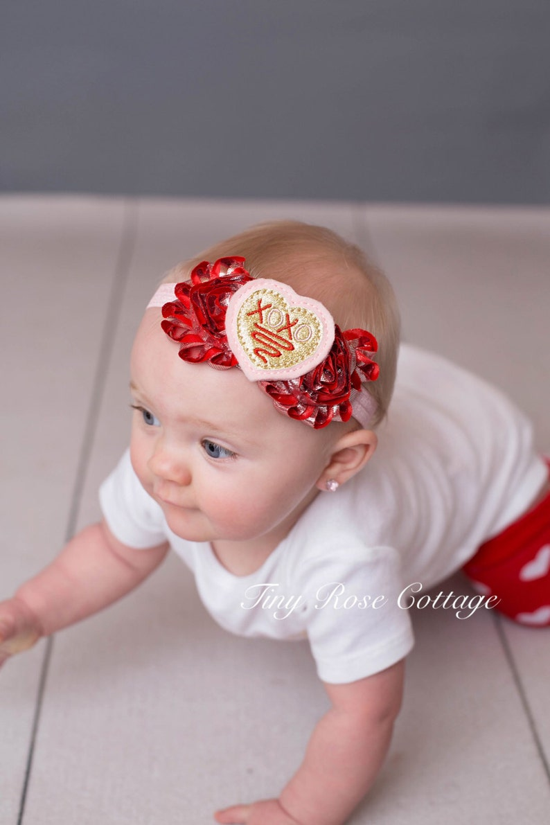 Valentines Day Headband Embroidered