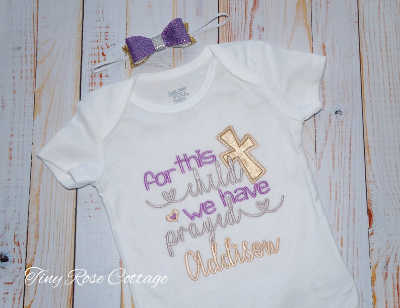 For this Child we have prayed Embroidered Bodysuit Girls