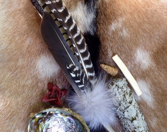 Ceremonial Feather Smudge Fan with Antler & Coyoter Fur Deluxe Kit