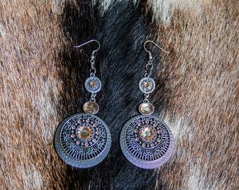 Circular Metal Crystal Earrings