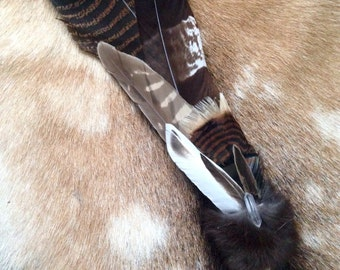 Ceremonial Feather Smudge Fan with Fox Fur, Crystal Quartz & Antler