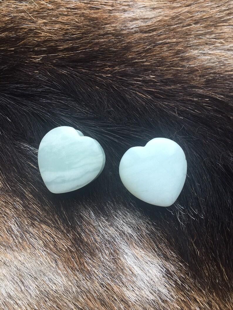 1 inch 25mm Heart Shaped Amazonite Stone Double Saddle Flare Plugs Gauges Pair