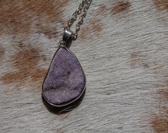 Light Purple Druzy Necklace