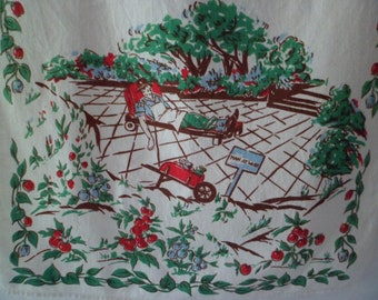 Vintage Kitchen Tea Dish Towel Table Runner Man Resting in Chaise Lounge Chair Gardening Theme Father's Day