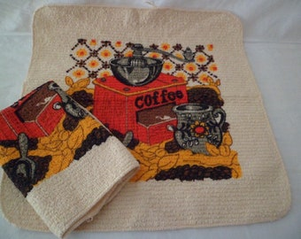 Vintage 1970's Old Stock Cannon Dish Cloths Set of 2 Coffee Beans and Mill