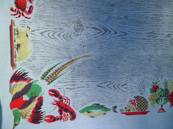 """Nappe vintage Maycraft ~ 66 x 50-1/2"""" Lin ~ faisans homards et crabes Oh mon! ~ Idéal pour les réceptions en plein air!"""