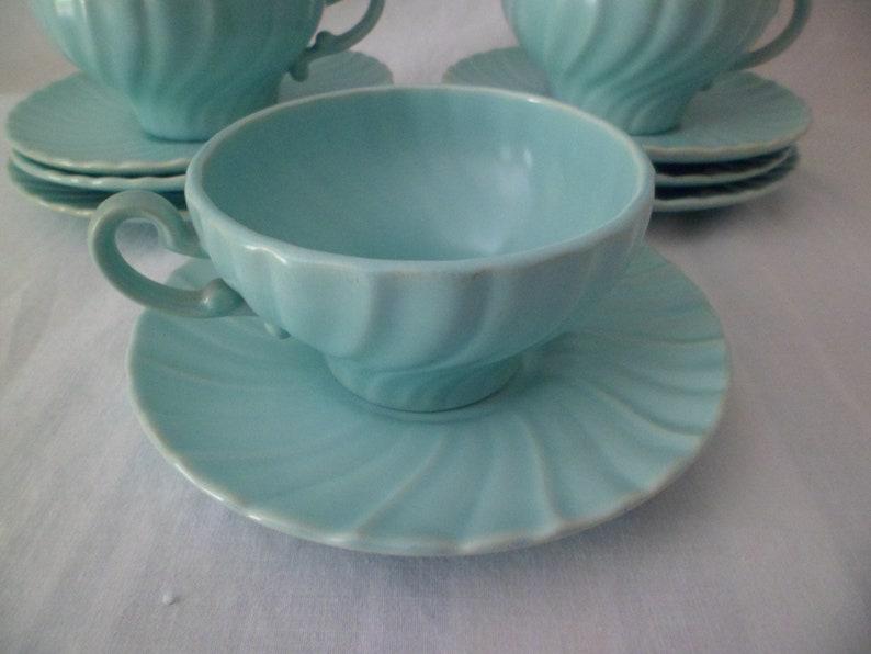 Vintage Franciscan Coronado Aqua Matte 2 18 Flat Cup and Saucer Set Swirled Edge