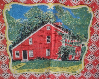 Vintage Artist Designed Tea Dish Towel Table Runner Colonial Home and Hearth Scenes