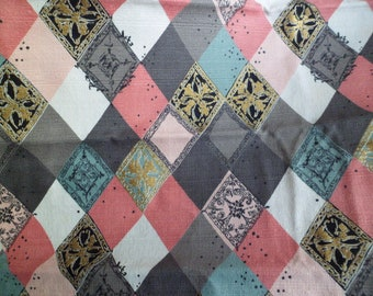"Vintage Mid Century Waverly Barkcloth Fabric Yardage ""Neapolitan"" Pink Gray Turquoise Diamonds"