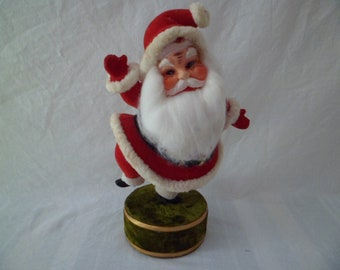 Vintage Mid Century Christmas Flocked Santa Claus Doll Music Box Japan Plays Jingle Bells 11""