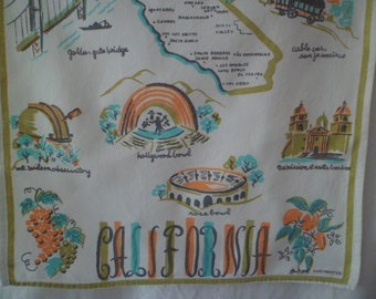 Vintage California Souvenir Kitchen Tea Dish Towel Wall Hanging Handprinted