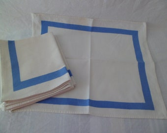Vintage Set of 6 Cotton Cloth Napkins 14 x 12 White Blue Stripe