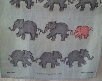 Vintage Ulster Irish Linen Novelty Kitchen Tea Towel Table Runner Elephants