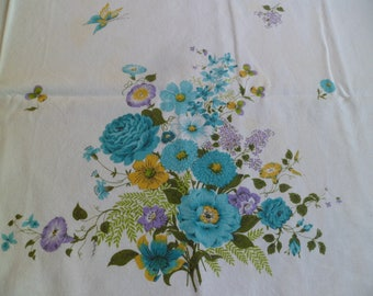 Vintage Broderie Creations Tablecloth Flowers and Butterflies 44 1/2 x 65 Cotton