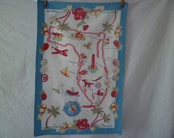 Vintage Florida Souvenir Kitchen Tea Dish Towel Wall Hanging